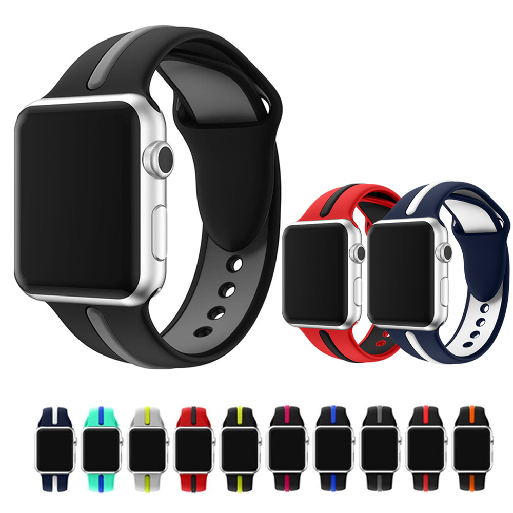 Silicone strap for apple watch band 42mm/38mm iWatch Series 3/2/1 band Stripe dual-color wrist bracelet Soft Rubber watchband sport silicone band strap for apple watch nike 42mm 38mm bracelet wrist band watch watchband for iwatch apple strap series 3 2 1