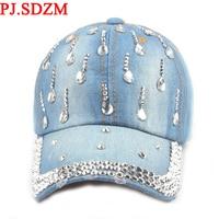 Новое поступление женские Бейсбол шляпа Роскошные хрустальные деним шляпа от солнца для девочек вода горный хрусталь Бейсбол Кепки Snapback шл...
