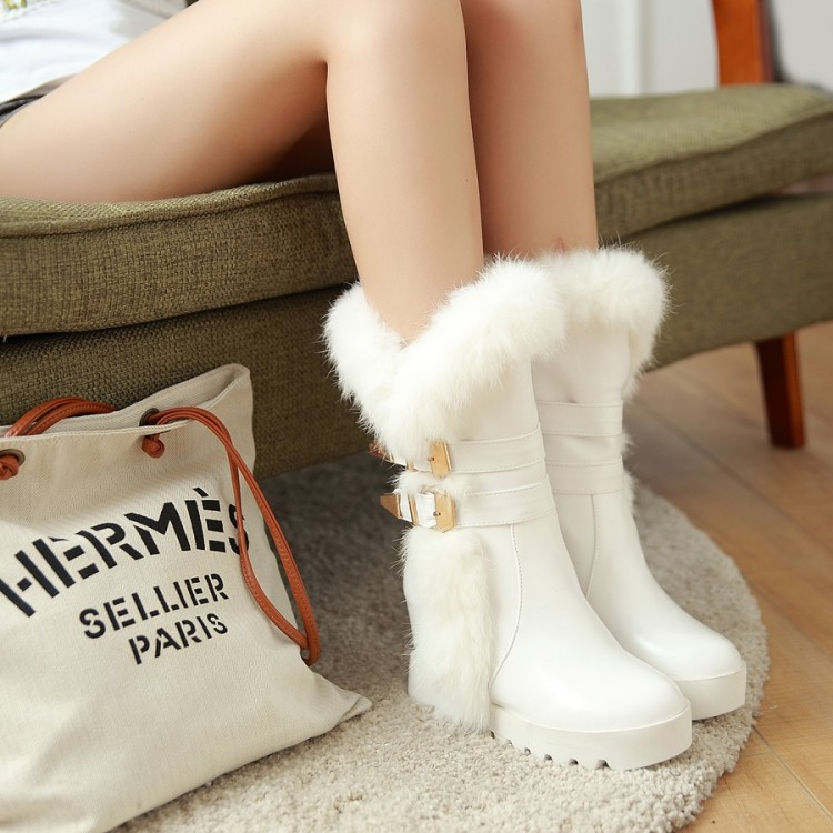 2015 Women's Winter Shoes Buckle Low-heeled Snow Boots Female Boots Elevator Medium-leg Thermal Sleeve Boots Fast Color