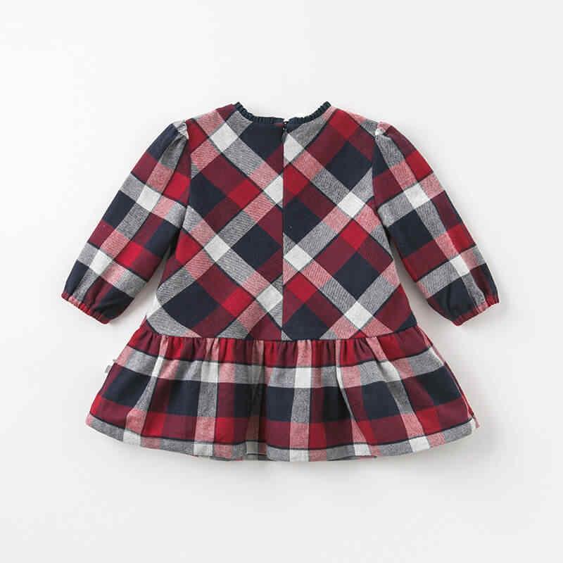 DBA7953 dave bella/осеннее модное клетчатое платье для маленьких девочек детское праздничное платье на день рождения Одежда для маленьких детей