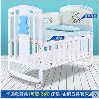 Обработки продвижение! Babyfond кроватки твердой древесины Колыбель для новорожденных кровать Multi Функция Сращивание кровать с москитные сетк