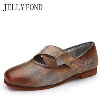 JELLYFOND Vintage Genuine Leather Handmade Shoes Woman Square Toe Cross Tied Ladies Loafers Comfortable Women Driving