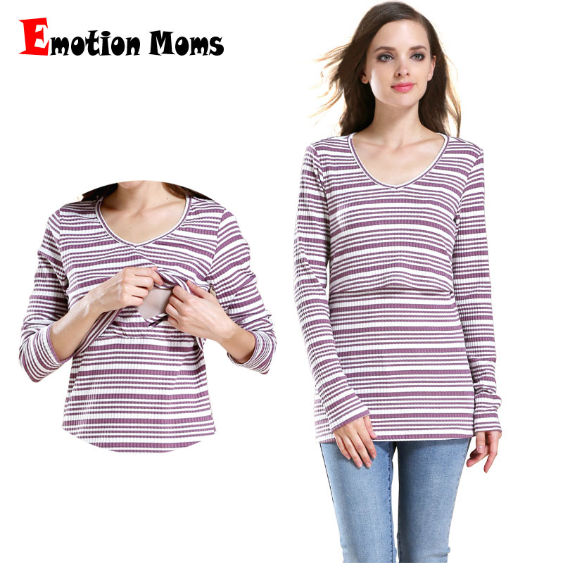 Emotion Moms Long-sleeved Cotton Maternity Nursing Top Clothes Breast Feeding Clothing for Breastfeeding Shirt Maternity Tops ladies solid long sleeve breast feeding nursing top maternity clothes pregnant women shirt chic solid cotton top clothing