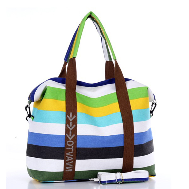 Kvinnor Canvas Messenger Bag Kvinna Axelväskor Ladies Beach Top-Handle Väskor Stripe Tote Shopping Purse Bolsa Large Handväskor