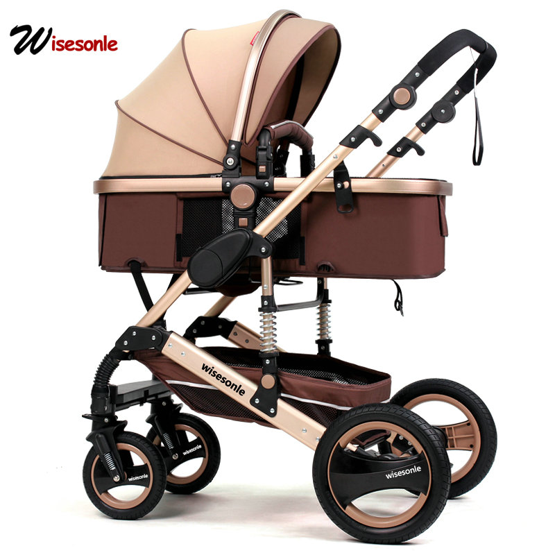 Wisesonle del bambino passeggino 2 in 1 passeggino paesaggio di alta può sedersi e piega a due vie a quattro ruote scossa assorbitore di inverno e inverno