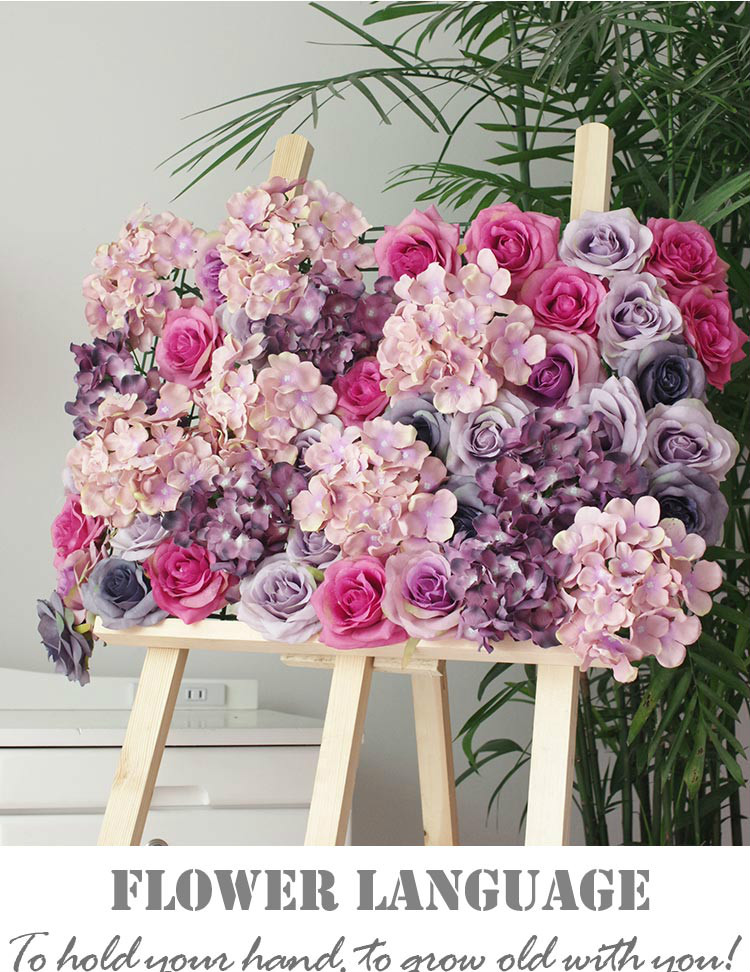 4pcs/lot (60x40cm) High Quality Hydrangea Rose Flower Wall Wedding Backdrop Fantastic Floral Arrangements Free Shipping