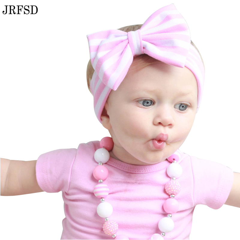 New Cute Baby Headband Cotton Big Bow Hair Band Color stripes Girls Headband Elasticity Kids Hair Accessories For Girl H131