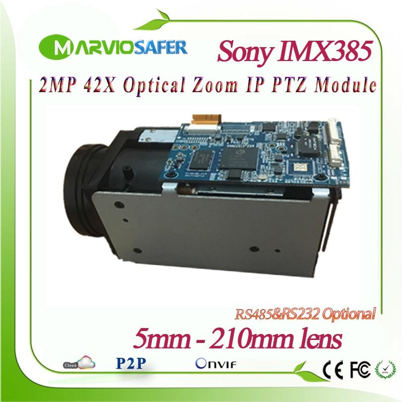 2MP 1080 P Full HD de Rede IP PTZ Módulo Da Câmera a Luz Das Estrelas 5-210 milímetros de comprimento 42X Lente de Zoom Ótico RS485/RS232 Apoio PELCO-D/P IMX385