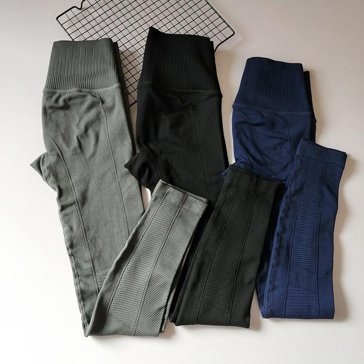 women workout leggings compression exercise pants high waist blue striped 3/4 leggins bodycon black pantalon deportivo mujer