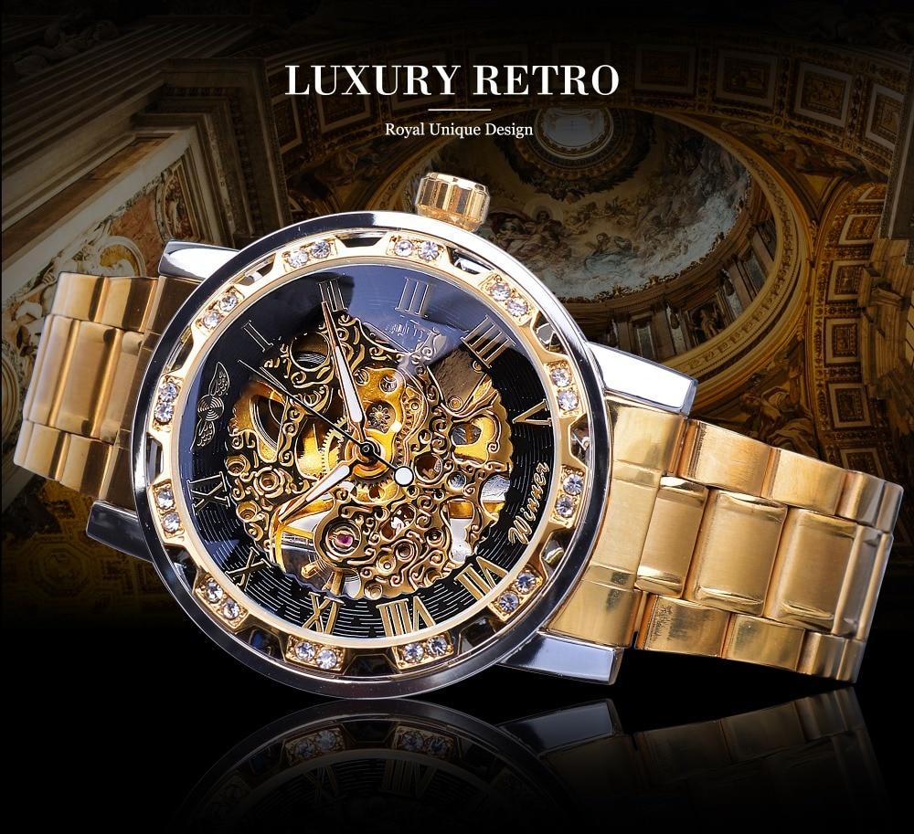 Winner Golden Watches Classic Rhinestone Clock Roman Analog Male Skeleton Clocks Automatic Mechanical Stainless Steel Band Watch
