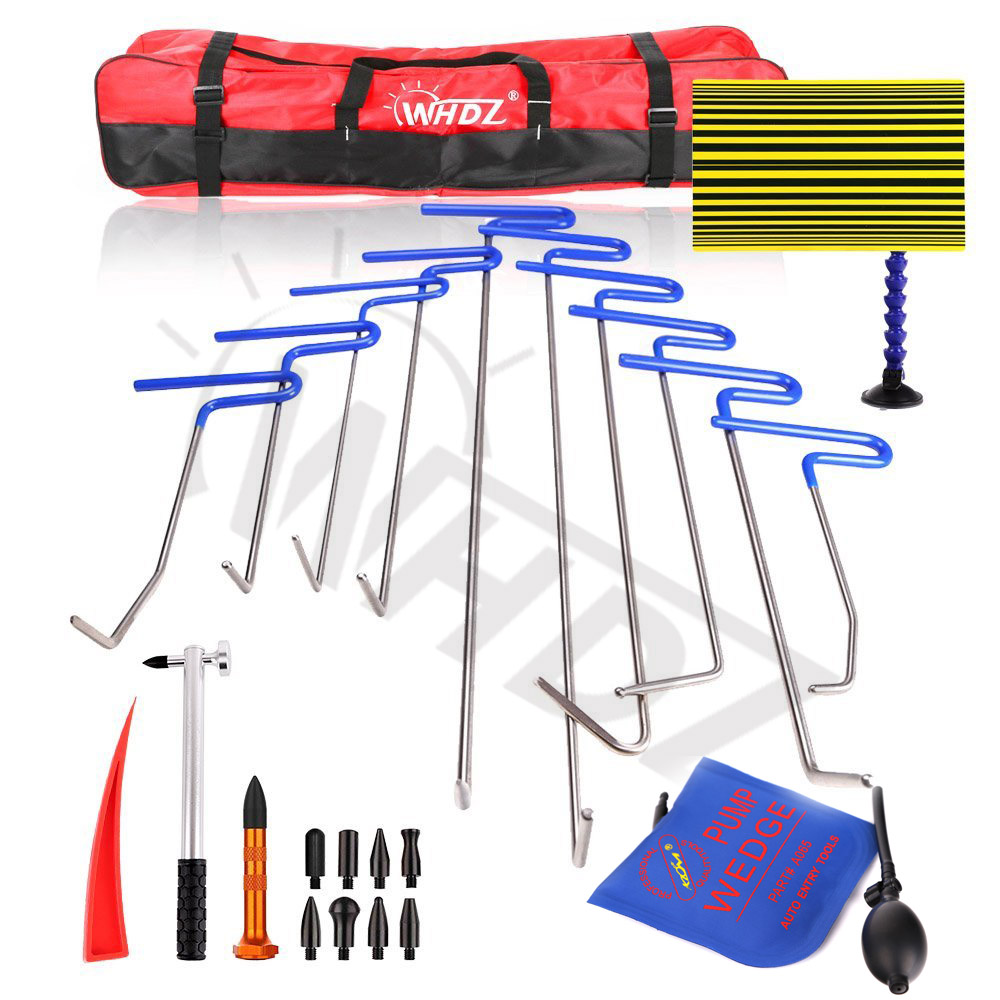 dent removal pdr rod tool kit hail and door ding repair starter set with tap