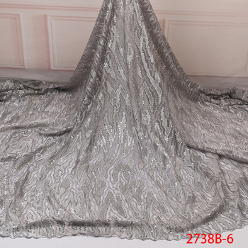 High Class African Lace Fabric Silver Sequins French Net Embroidery Tulle Lace Fabric High Quality For Evening Party GD2738B-6
