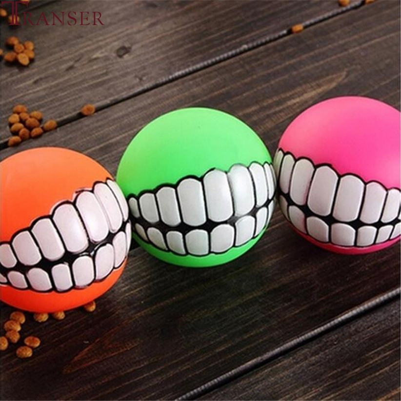 Transer Pet Supply Funny Teeth Rubber Dog Ball Toy Sound Squeak Chew Toys For Small Large Dog 80130