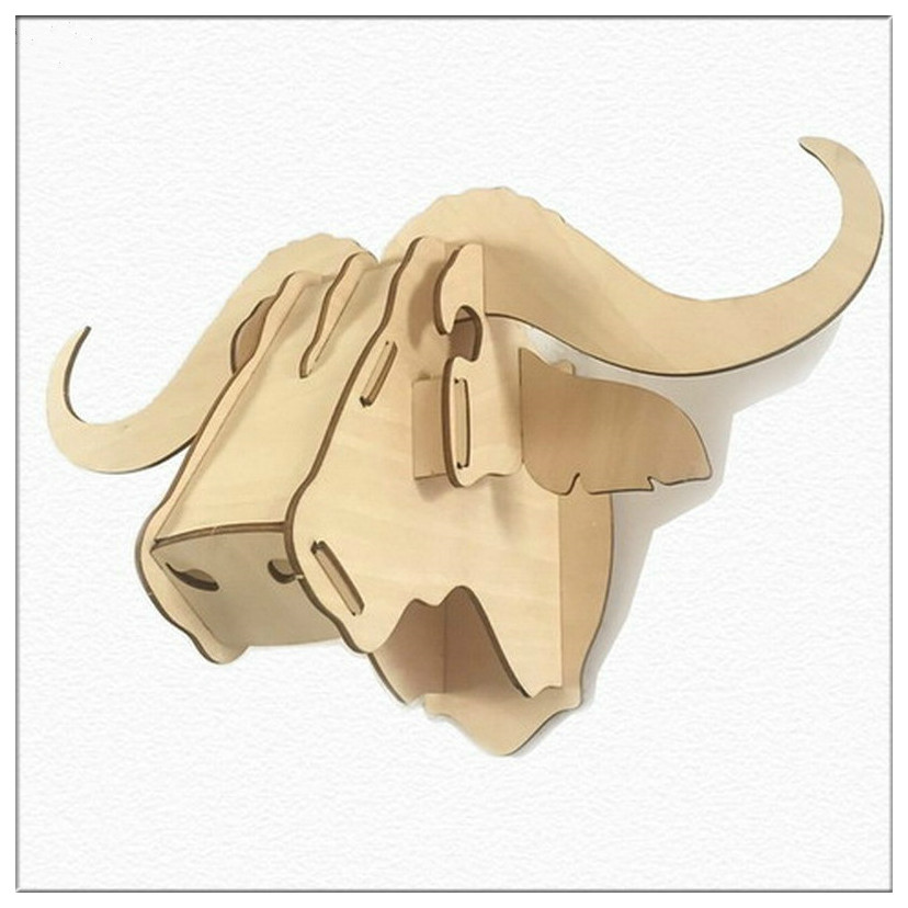 3D Wooden Animal Head Wall Hanging DIY Creative Gifts Puzzle Plywood ...