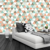 Custom Papel DE Parede Infantil Geometric Triangular Pattern 3D Modern Mural For Living Room Bedroom TV