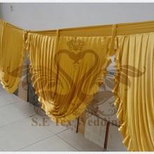 Золото Цвет Ice Шелковый добычу Пелерина используется для фон Шторы и Юбка для стола Свадебные украшения