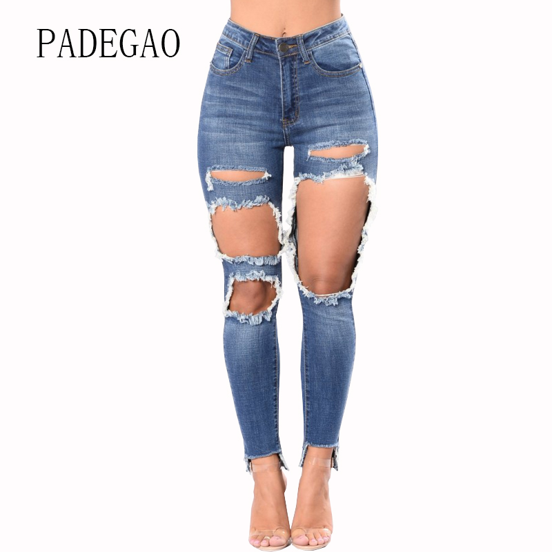 Large Plus Size Mujer Hole Ripped Push Up High Waist Jeans Womens Boyfriends For Women Woman Denim Pants Femme Feminino Female female boyfriends vintage mom jeans woman rivets high waist jeans women plus size loose jeans womens pants denim womens quality
