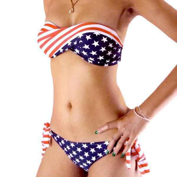 Terbaru Musim Panas Wanita Push-Up Padded Amerika Serikat Bikini Wanita Baju Renang Bendera Amerika Rumbai Perban Swimsuit S M L