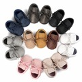 6 pairs/lot New Tassel tassel Baby Shoes Handmade High Quality Baby Mocs First Walkers Pu leather