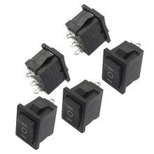 ¡ Promoción! 5 unids SPDT ON/Off/On Mini Negro 3 Pin Rocker Switch AC 6A/250 V 10A/125 V