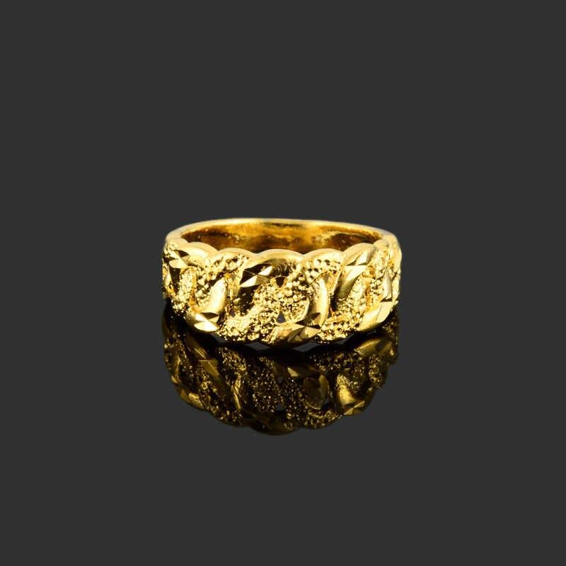 Bague en or de haute qualité pour femmes hommes GP couleur or bague ronde bijoux de mode cadeaux de fête de mariage