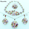 Created Multi Gems Silver Color Jewelry Sets For Women Wedding Bridal Bracelet/Necklace/Earrings/Ring/Pendant