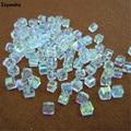 Atacado 98 pcs Cubo 4mm Branco AB Cor Praça Áustria Grânulos De Cristal de Vidro Solta Pérolas Spacer Bead para DIY Fazer jóias