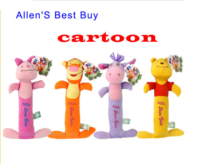 Free Shipping 2013 New Style 2pcs/Lot Classic Cartoon Hand Rattle Exports to Europe Baby Toy Promotion Random Sent ETWJ002