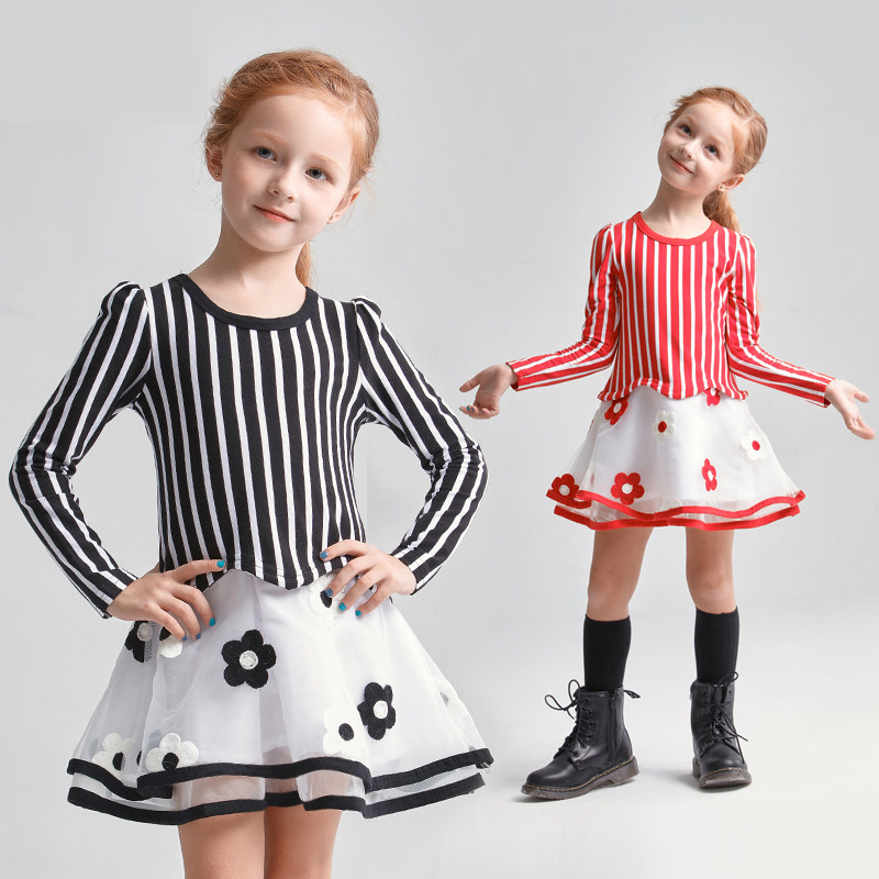 2017 Autumn Baby Girls Fashion Elegant Party Dress Flores Stripe Design Black Red for Teens Age 5 6 7 8 9 10 11 12T Years Old цены