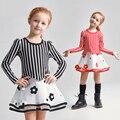 Moda Vestido Bebê Meninas Outono Algodão Frock Designs Roupas de Malha Vestidos de Casamento para 5 6 7 8 9 10 11 12 T Anos de Idade As Crianças a granel