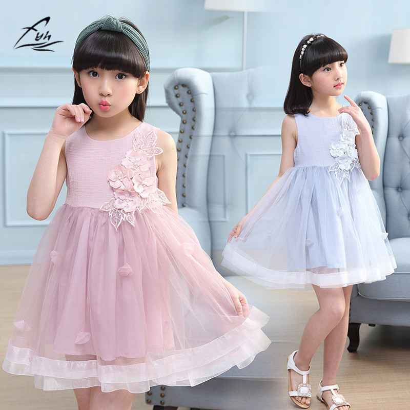 FYH Girs Clothing Summer Girls Sleeveless Dress Teenager Girls Princess Dress Ball Gown baby girls Summer Party Tutu Dresses 2017 princess baby girls dress summer sleeveless floral tutu ball gown child party dresses vestidos clothes 0 7y