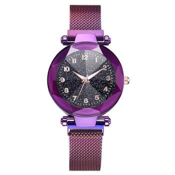 watch women Wrist Quartz Fashion Starry Sky Convex Glass Mesh With Magnetic Buckle Ladies Watches bayan kol saati A4