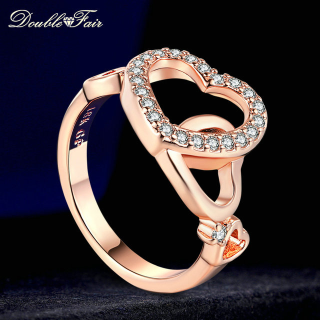 Double Fair Love Heart Rings For Women Rose Gold / Silver Color Fashion Cubic Zi