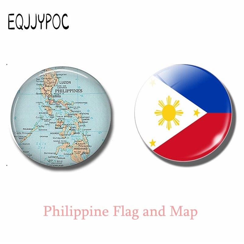 Карта и флаг Филиппинских островов, магнитное стекло на холодильник 30 мм, Декор для дома