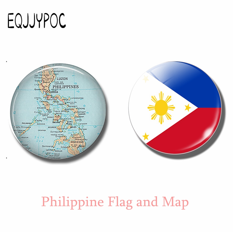 Republic of The Philippines Islands Map and Flag 30 MM Fridge Magnet Glass Cabochon Magnetic Refrigerator Stickers Home Decor