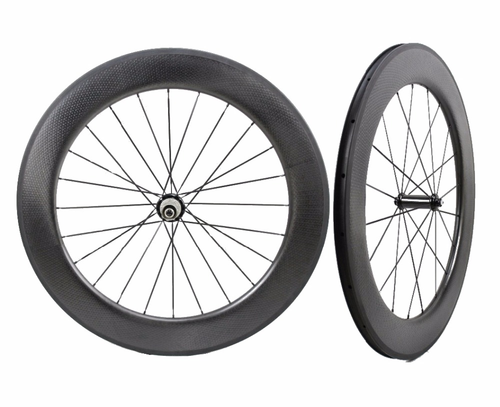 700C 80mm depth 25mm width Road carbon wheels bicyle Tubular/Clincher Dimple surface 808 carbon wheelset with powerway R36 hub