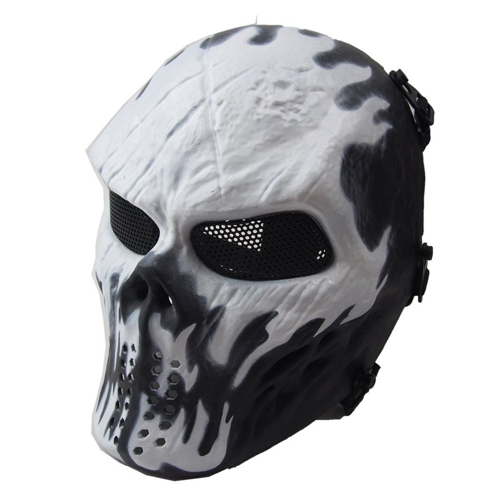 Black DT Airsoft Mask Skull Full Protective Mask Military