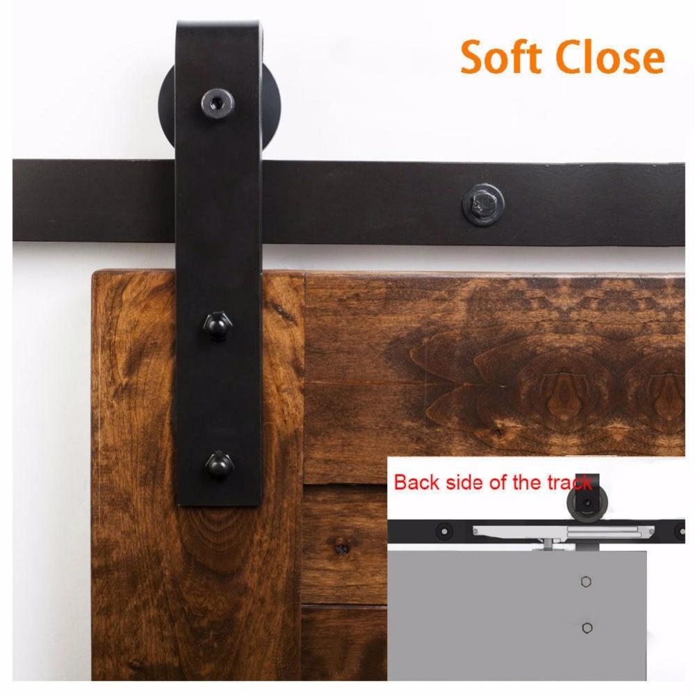 Rational 5ft 6ft 6.6ft /8ft Soft Closing Antique Black Sliding Barn Wood Door Hardware Closet Track Kit
