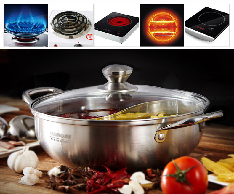 Stainless Steel 304 Shabu Hot Pot With Divider For Induction Cooktop Gas Stove 28 Cm In Soup Stock Pots From Home Garden On Aliexpress