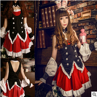 free shipping Black rabbit case court Noble bunny maid outfits cosplay costume free size