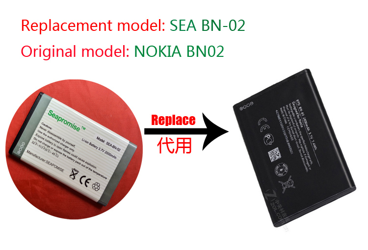 wholesale 10PCS mobile phone battery BN-02 <font><b>BN02</b></font> for nokia XL,RM-1030,RM-1061,RM-1042 image