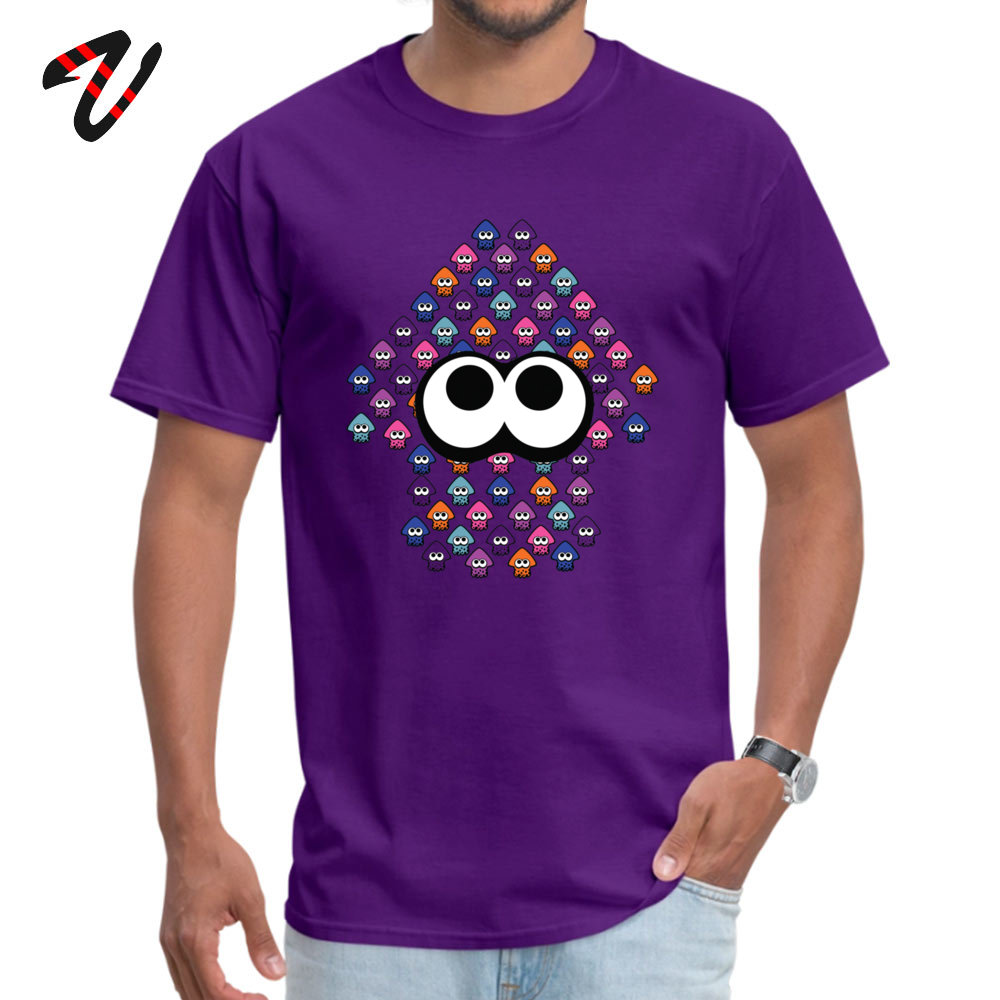 Group Top T-shirts Simple Style Short Sleeve Slim Fit Round Collar 100% Cotton Fabric Tees Summer Tshirts for Men VALENTINE DAY Splatoon Inspired Squid made of Squid 702 purple