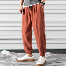 Men pants thin 2019 new arrival spring and autumn loose casual male ankle-length black gray red hot sale Korean style n27