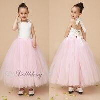Ellie Bridal Blush Roze Sluier Mesh Gorgeous Crinkle taart jurk Schattige Ballet tutu bloem meisje trouwjurk D1014
