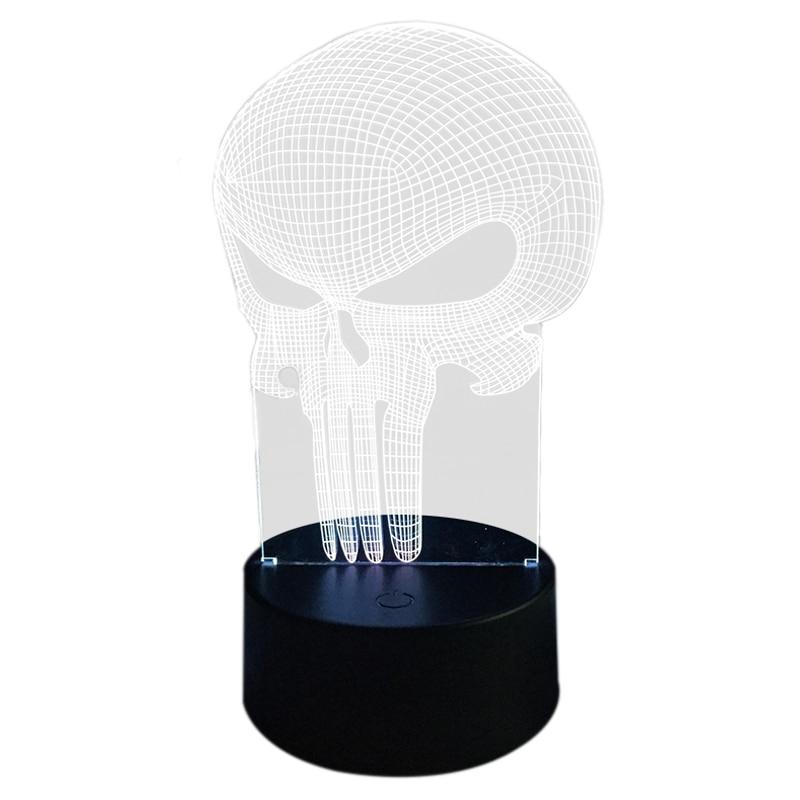 Ночные огни скелет маска 3D визуальную иллюзию красочные разноцветные изменить USB нажатием кнопки <font><b>LED</b></font> Настольная лампа, настольные светильни&#8230;