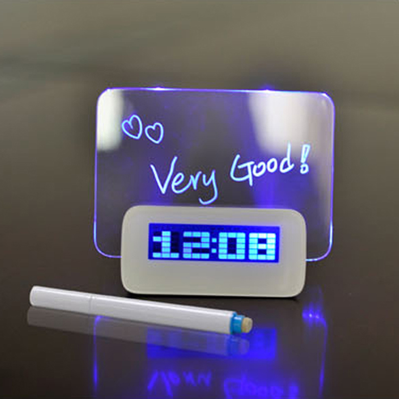 Digital Clock Multifunktionelt Vækkeur Highlighter Blå LED Light Message Board USB 4 Port Hub Led Klokke
