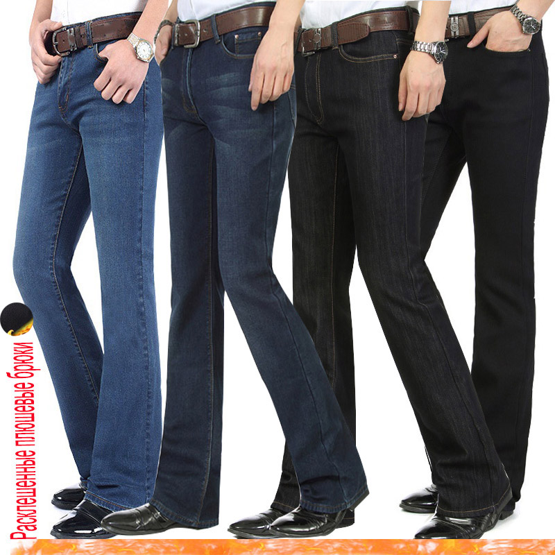 Men's Winter Warm  Velvet Thickening Boot Cut Jeans Male Mid Waist Business Casual Flares Pants Bellbottom Trousers 26-38