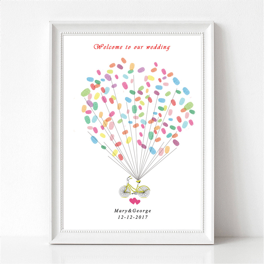 Guest Book Printing: Balloon DIY Canvas Wedding Fingerprint Signature Tree