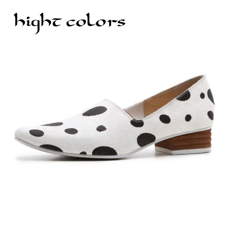 New Style Horsehai Shallow Slip On Women Low Heel Pumps Lady Casual Single Shoes Women's Pointed Toe Zapatos Mujer Black White 2017 shoes women med heels tassel slip on women pumps solid round toe high quality loafers preppy style lady casual shoes 17