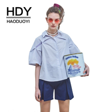 HDY Haoduoyi Women Loose Embroidery Blue Stripe Tops Shirt Turn Down Collar Half Sleeve Single Breasted Loose Female Blouse